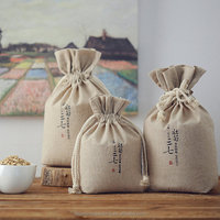 Personalize Whole grains Cereals bag Custom brand printed drawstring cotton linen bag
