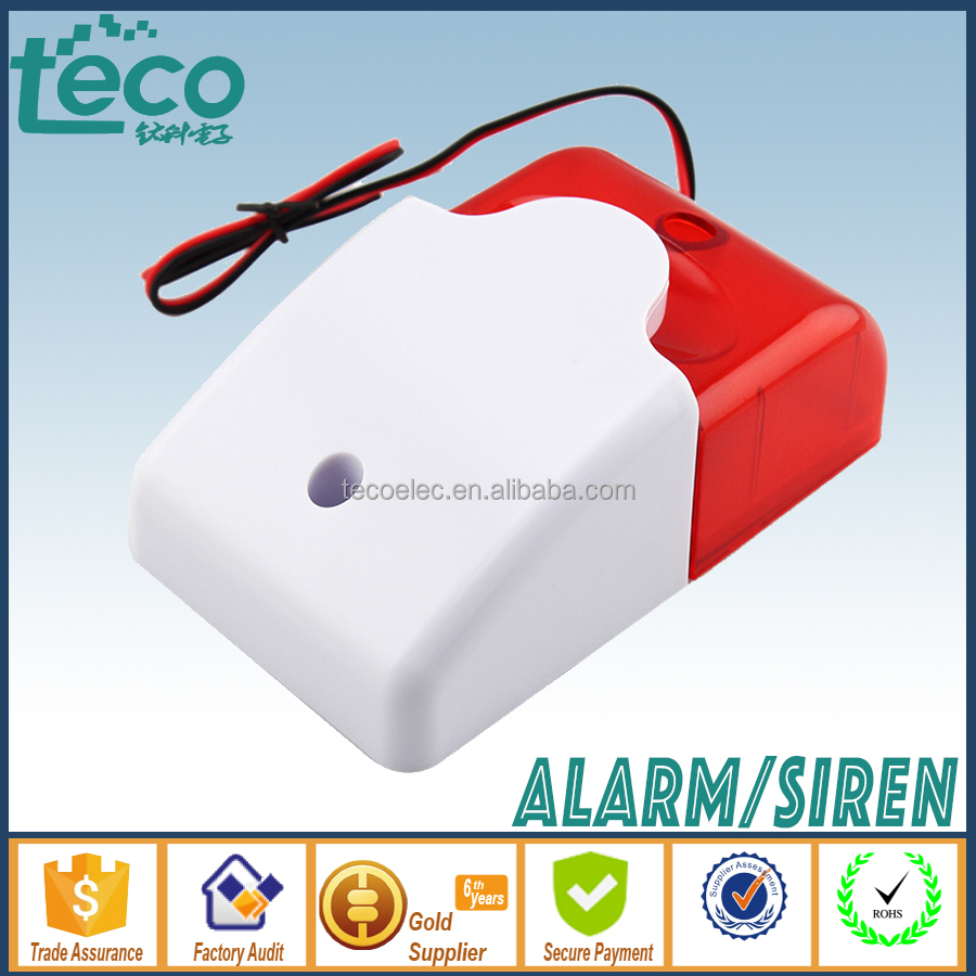 TPS-120 Ningbo TECO 12V Wired Piezo Home Alarm Door Alarm Strobe Light with Hi Sound 110dB