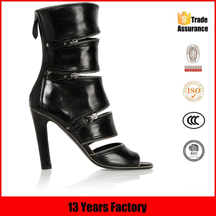 2016 Top quality delicate zipper decoration black genuine leather china factory wholesale alibaba selling women sandal shoe