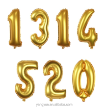 16'' inch number gold foil film balloon mylar balloons party decotation birthday wedding anniversary helium balloon