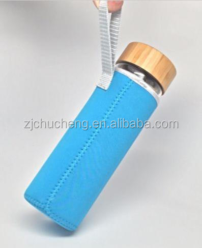 Glass drinking water bottles ,bamboo infuser