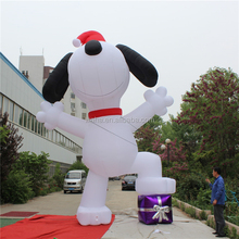 customized giant inflatable dog cartoon for Christmas decorations