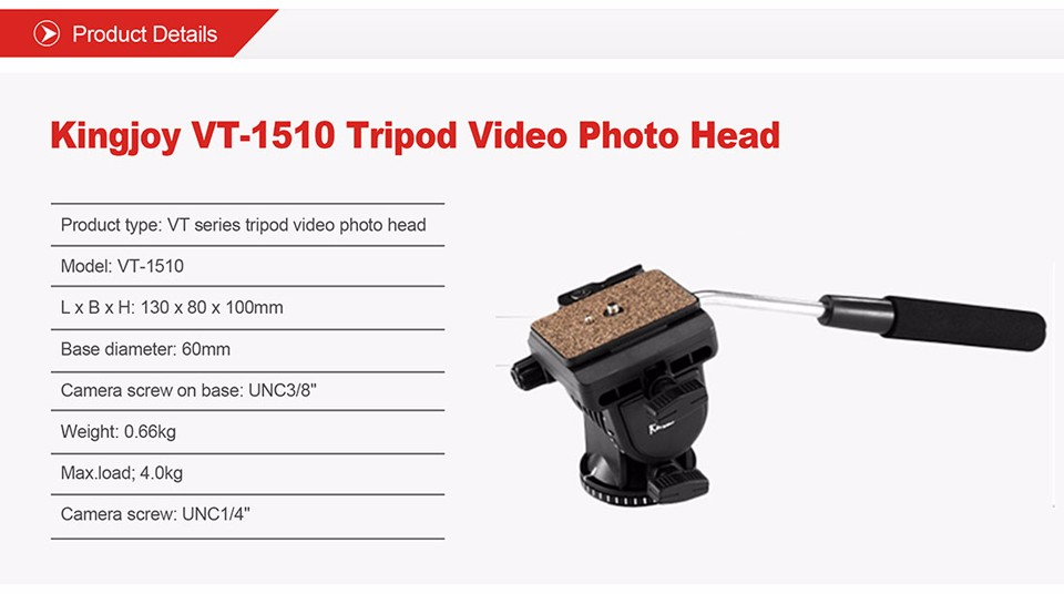 Kingjoy 2-way pan tilt video camera cheap photo tripod hydraulic dampingl head head VT-1510