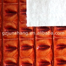 Embossed crocodile PVC leather fabric for handbag usage with high quality and flexible price