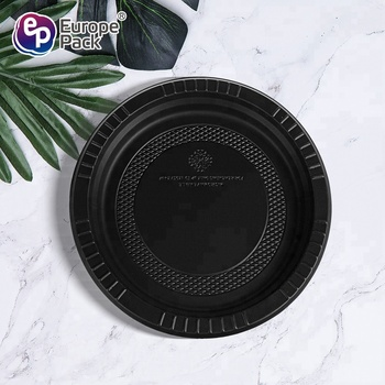 Eco friendly disposable biodegradable cornstarch black hard plastic party plates
