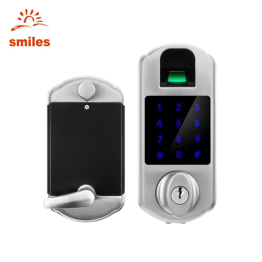 Waterproof Satin Nickel Electronic Fingerprint Touchscreen Deadbolt Door Lock With Password and Keys
