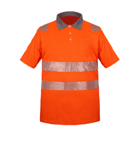 High visibility short sleeve reflective polo fluo yellow and orange reflective safety polo shirt