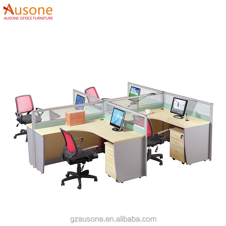 Modern office furniture 4 seat writing desk with cabinet