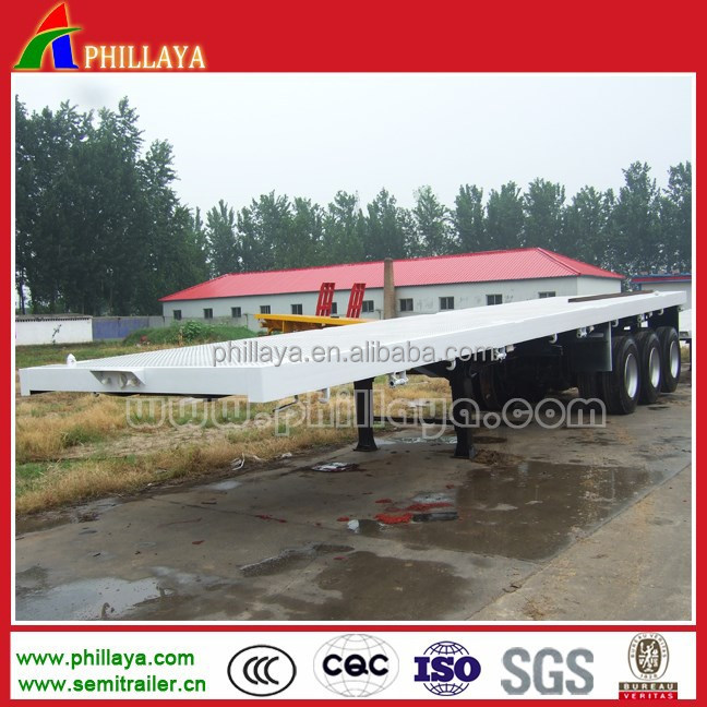 phillaya china trailer supplier FUWA/BPW/JOST Axles 40feet 50Ton Flatbed Container Semi trailer with one point linkage