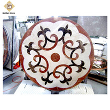 Hot selling 2cm thick white waterjet marble floor medallion tile inlay