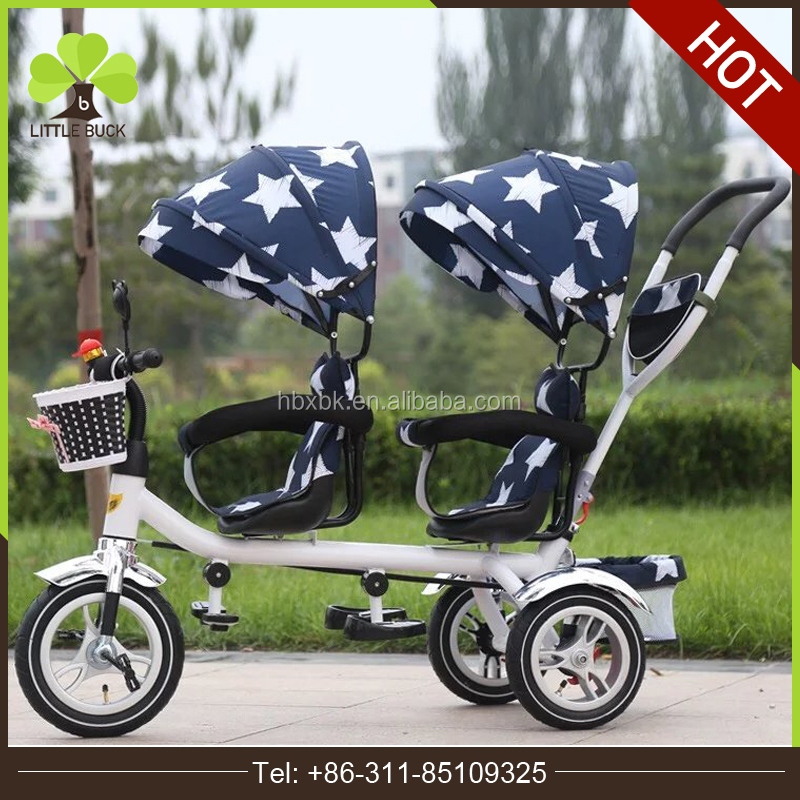 2016 new products on china market double seat twins tricycle for children of baby kids twins tricycle