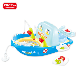 zhorya new 2 in 1 plastic battery operated boat shape magnetic cooking fishing game toy for kids 2018