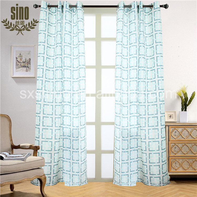 Blue Geometric Printing Faux Silk fabric Wholesale Curtain