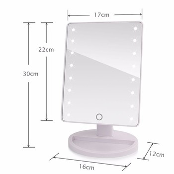 LED Touch Screen Makeup Mirror Professional Vanity Mirror With 16/21 LED Lights Health Beauty Adjustable Countertop 180 Rotating