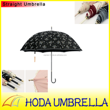 Ladies fashion parasol straight umbrella with feed dog for summer