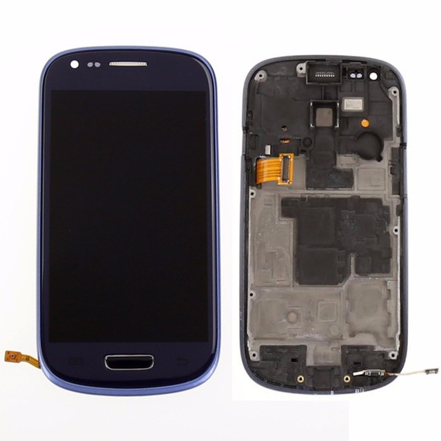 Blue For Samsung Galaxy S3 Mini I8190 LCD touch screen display with digitizer + Bezel Frame + Free Tools , !!!