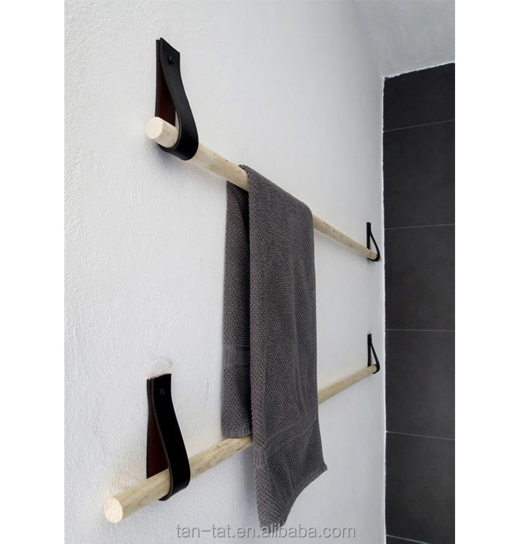 Cow Leather Straps Store Fixture Clothes Storage Rack