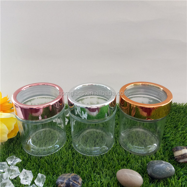 300ml airtight glass storage jars with gold lid with acrylic top window