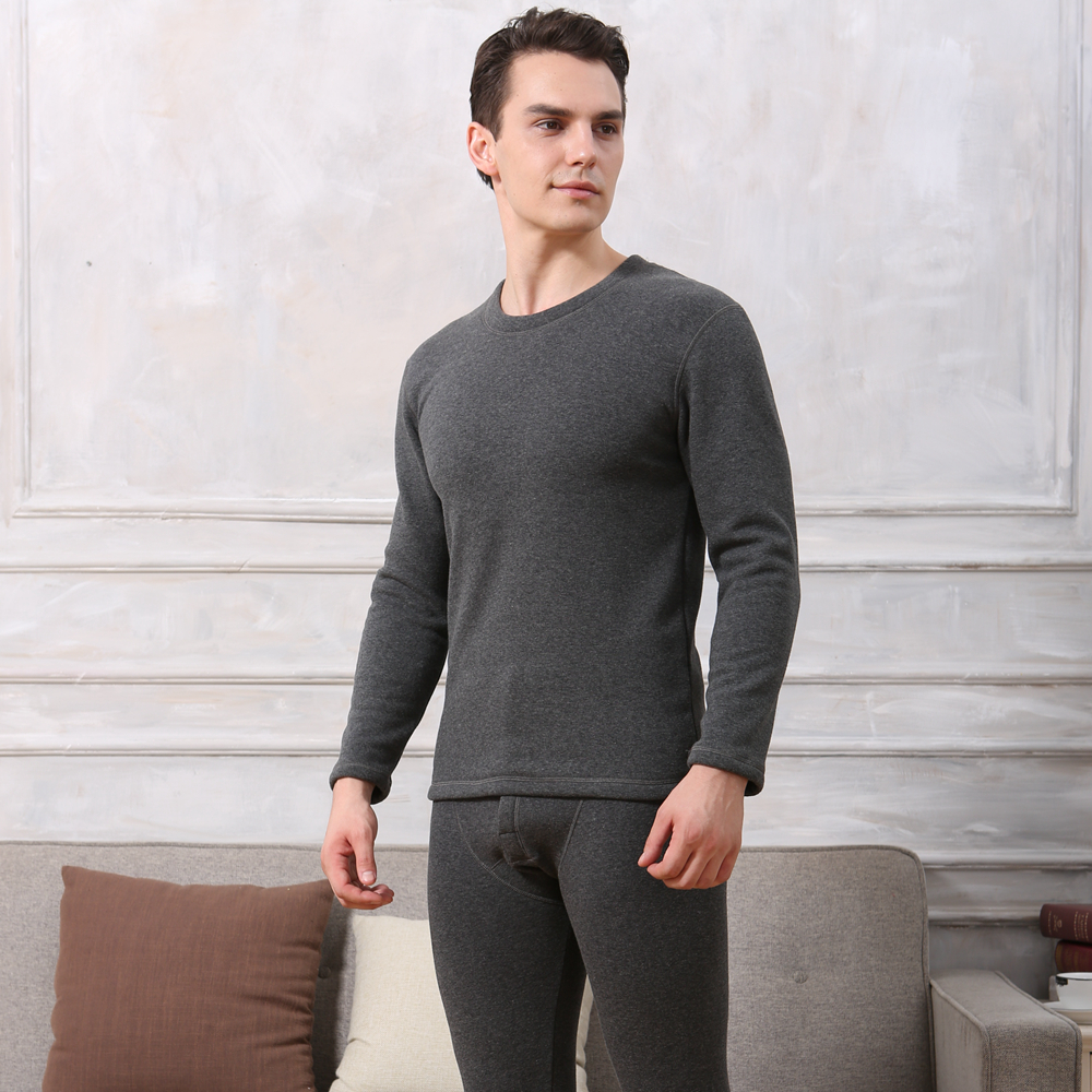 Winter Men Double Layers Thick Thermal Underwear Set Bottoming Long Johns Suit