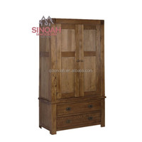 Chunky style solid oak 2 door 2 drawer wardrobe /bedroom furniture