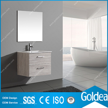 Wall Mounted Space Saving Ceramic Basin Thermofoiled Bathroom Cabinet