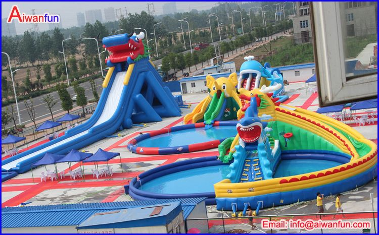 water park pipeline inflatable wet slide