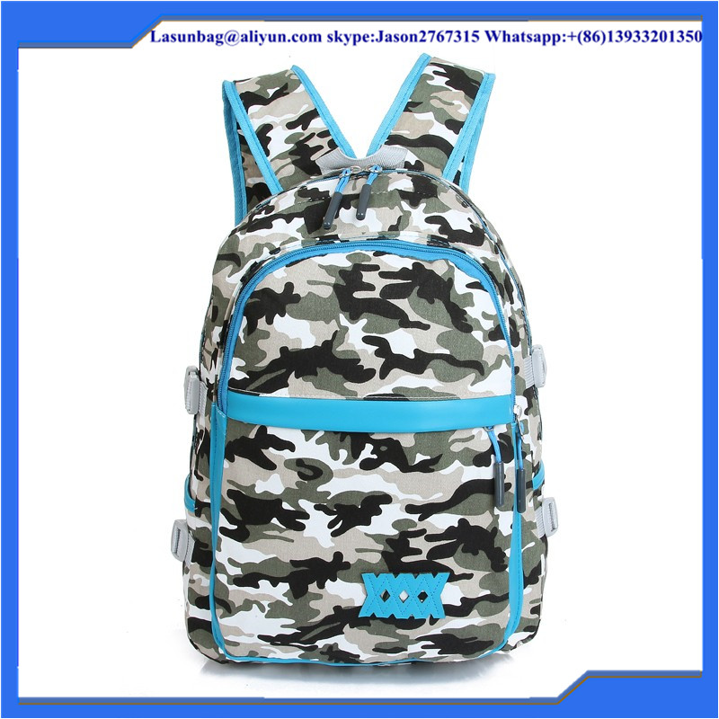 Shoulders Canvas School Bags Army Green Camouflage Backpack for University