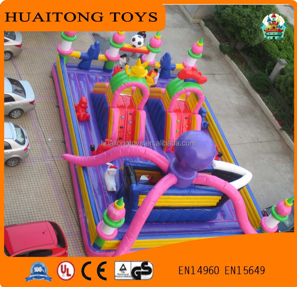 2016 hot sale Purple kids inflatable amusement park fun city