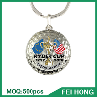 China Supplier metal two sided rugby ball golf personalized keychain
