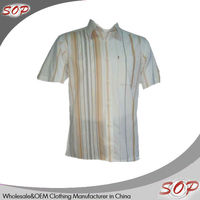 Latest technology short sleeve silk brand name men dress casual shirt with collar