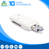 2016 New product 3-in-1 Micro USB Interface Smart Card Reader Hub, Support USB 3.0 TF SD Card