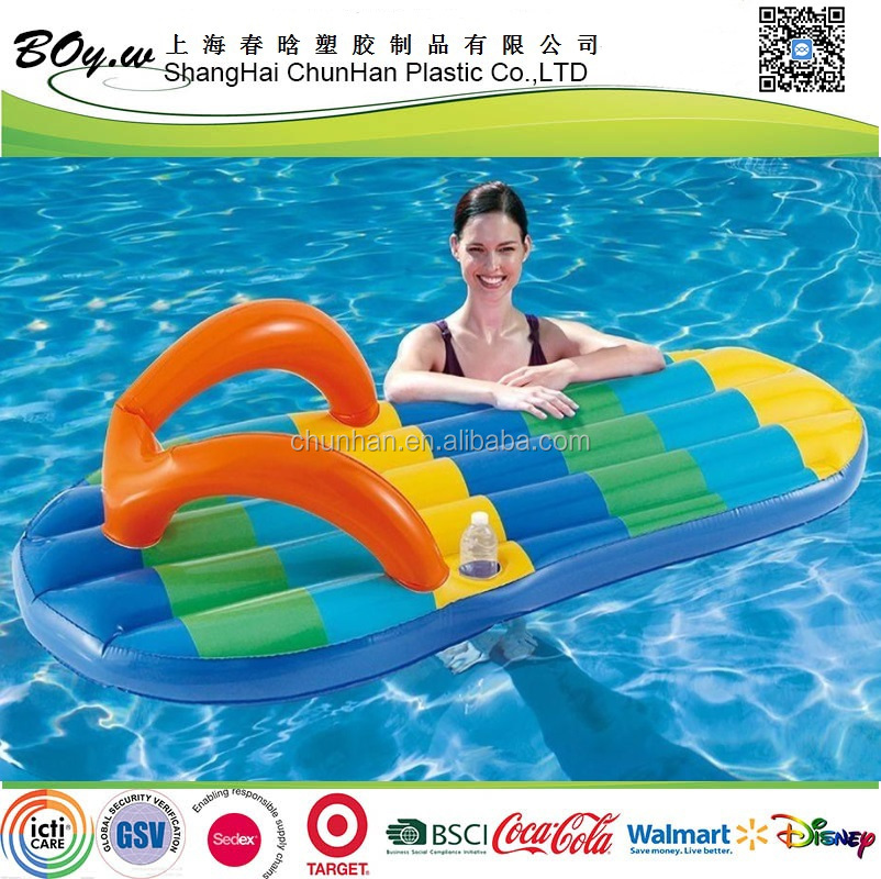 BSCI factoryfull cover printing colors stripe relaxation water resting mattress pool pvc inflatable floating flip flops