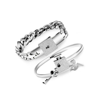 new arrival fashion locking couple stainless steel bracelet for lovers