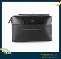 Fashion Stylish Nylon Men travel toiletry cosmetic bag with leather trim