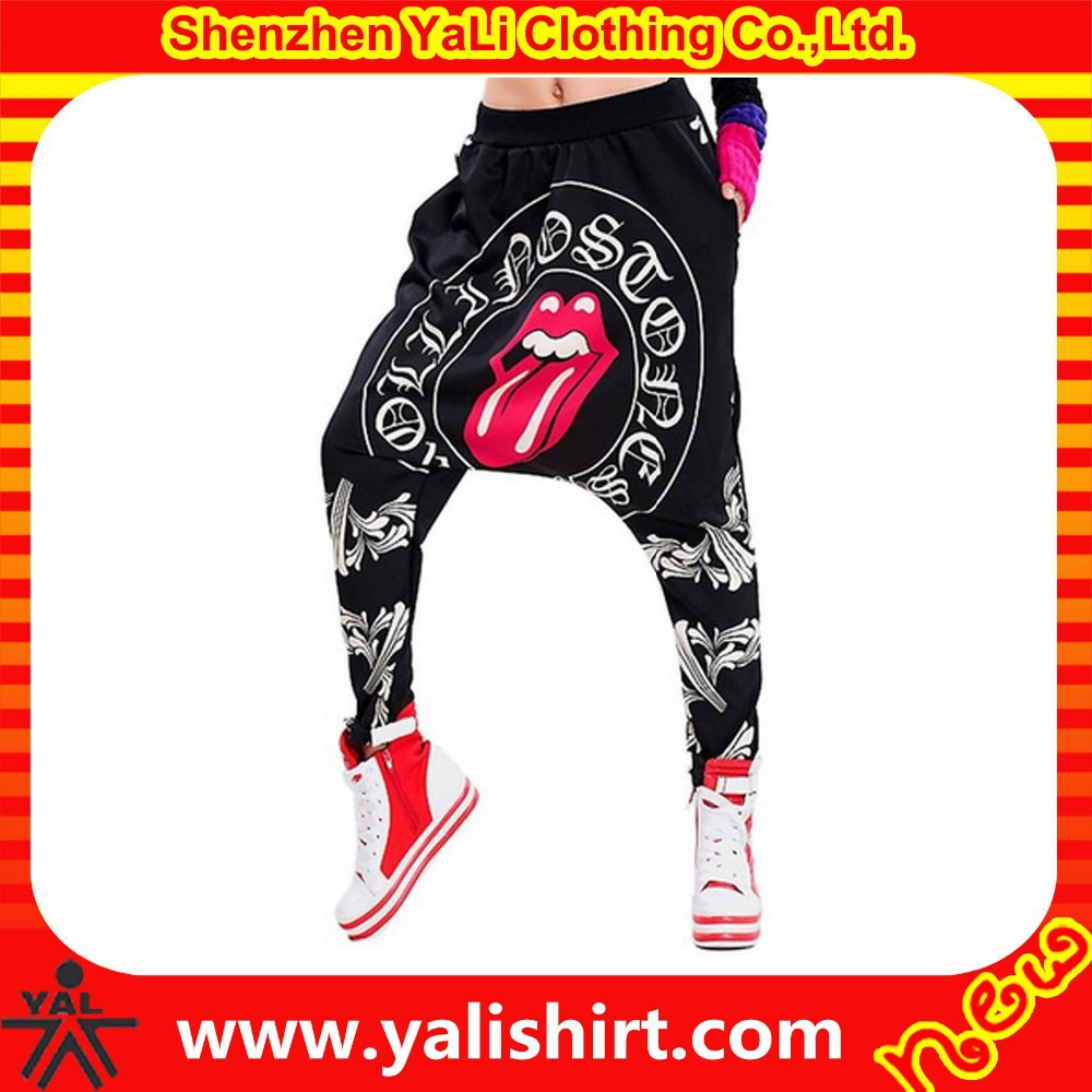 Fashion high quality mix size cotton/polyester full printing drop open crotch pants