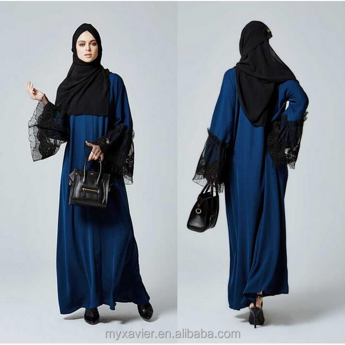 latest muslim clothes snap closure and featuring beautiful laced sleeves in sky blue color including belt abaya