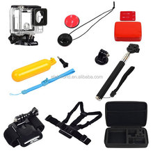8-in-1 Housing Case+Chest Strap+Wrist Strap+Mounts+Monopod+Floaty Grip+Bobber Sponge+Bag for Go Pro He ro 4/3+/3/2/1