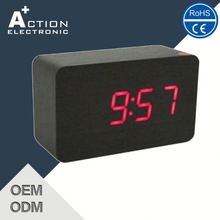 2016 New Design Promotional Get Your Own Custom Design Mini Digital Led Wooden Alarm Clock