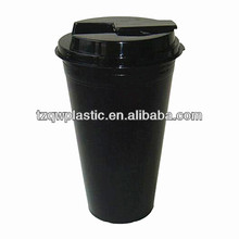 Food grade 16OZ insulated double wall plastic coffee cup with clips