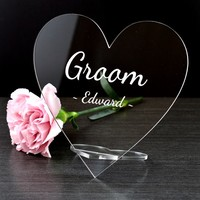 Clear acrylic table top heart shape name sign display stand