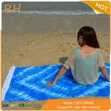 Oversized cotton velour reactive printing beach towel with tassels
