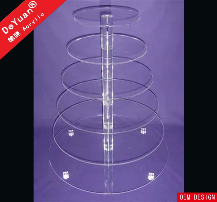 Large Cupcake Stands Clear Round / Cake Stand Wholesale