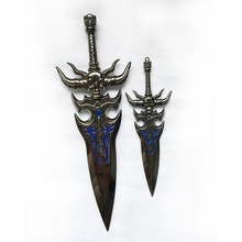 Custom 3d carved skull double-edged sword nickel plated sapphire metal short sword crafts
