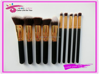 2015 wholesale 10pcs golden synthetic kabuki makeup brush custom logo