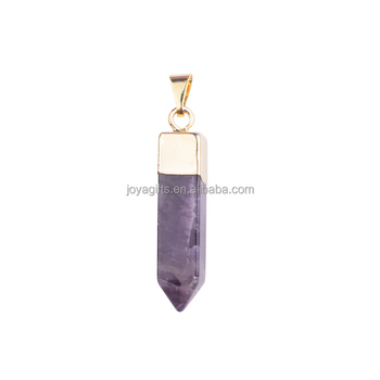 Natural Gemstone Pendant Hexagonal Pointed Healing Almethyst with Gold Finding