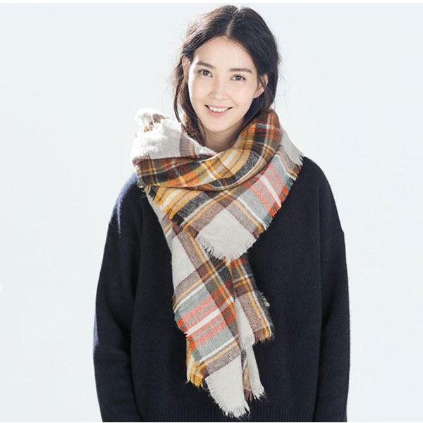 women winter neck stole thick checked plaid blanket scarf