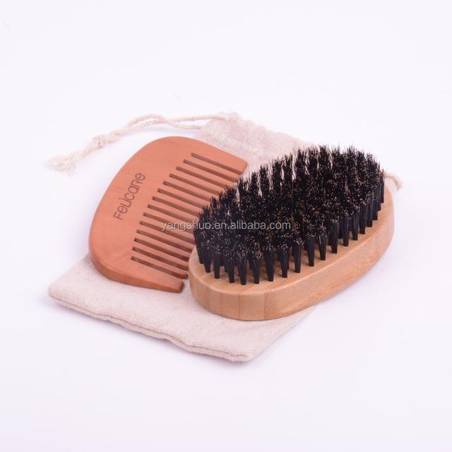 Beard brush and comb set/kit boar for men's grooming