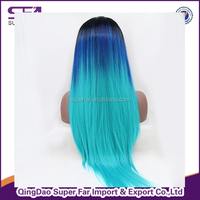 Wholesale stock silk top lace front dreadlock wig, ombre synthetic hair