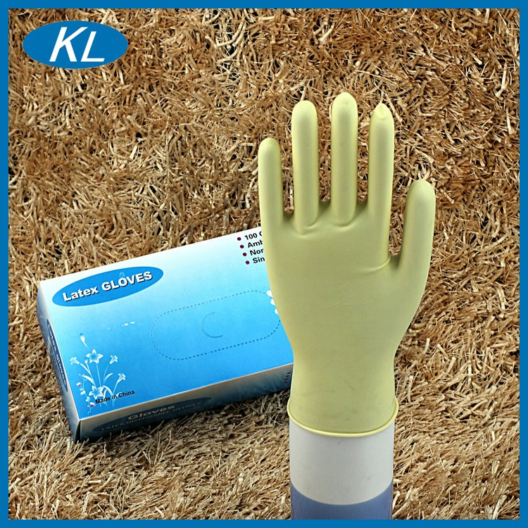 Hospital standard rubber disposable medical examination latex gloves China