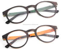 Designer wood eyeglasses frames with thin wood material and changeable designs